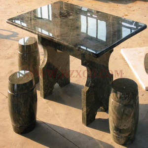 HZX-Black Granite Table and Bench