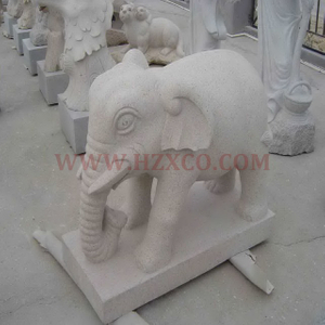 HZX-Beige Granite Elephant Sculpture