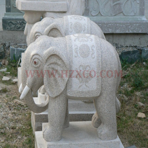 HZX-Pink Granite Elephant Sculpture