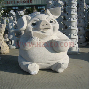 HZX-White Granite Pig Sculpture